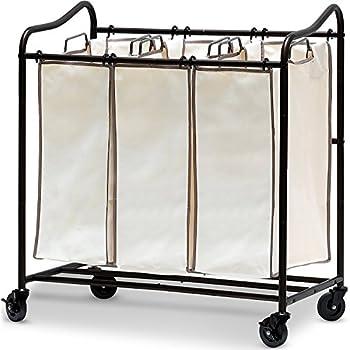 Simple Houseware Heavy-Duty 3-Bag Laundry Sorter Rolling Cart Bronze