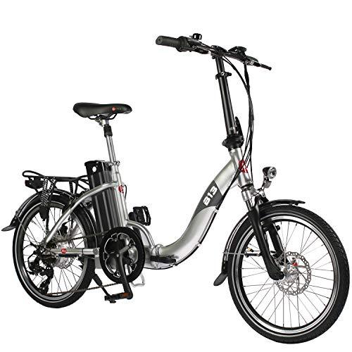 "AsVIVA E-Bike 20\"", Faltrad (15,6Ah Samsung Akku), Klapprad, 7 Gang Shimano Kettenschaltung, Bafang Heckmotor, Scheibenbremsen, Silber"