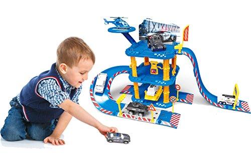 Brigamo Polizei Station Parkhaus Rennbahn mit Spielzeugauto und Hubschrauber