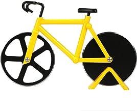 Bicicletta Ruota Tagliapizza, Tagliapizza a Forma di Bicicletta in Acciaio Inox Lame con Rivestimento Antiaderente Utensili da Cucina con Cavalletto Facile da Pulire Pizza Affettatrice (Giallo)