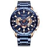 Curren Montre-bracelet à quartz pour homme avec trois sous-cadrans Affichage de la date Bleu 8363