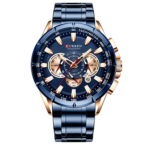 Curren Reloj de pulsera para hombre Tres Sub Dials Fecha Display Acero Deporte Cuarzo Reloj Azul 8363