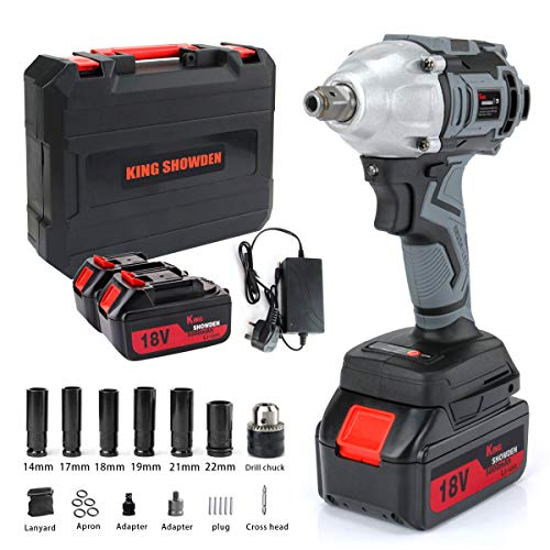 Impact Wrench with 2 Battery, Cordless Impact Driver 18V, 500N.M High Torque, 5,000mAH Lithium Battery, Dual Speed Automatic Power Tool,6 Impact Socket and Carry Case