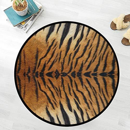 Naanle Tiger Anti Fatigue Round Area Rug, Animal Print Non Slip Absorbent Comfort Round Rug Floor Carpet Yoga Mat for Entryway Living Room Bedroom Sofa Home Decor (3' in Diameter)