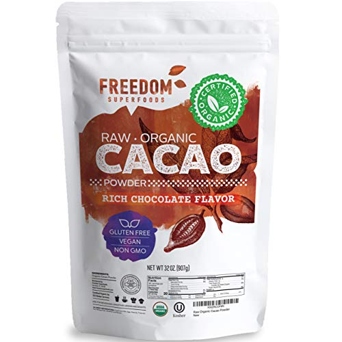Freedom Superfoods Organic Cacao Powder 32 oz, Unsweetened Raw Cocoa, Best for Baking & Drink's - Gluten-Free | Sugar-Free |Keto and Non-GMO