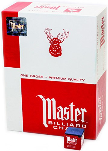Master Billiard Pool Chalk, Pack of 144 Cubes, Blue, with Protective Box - Professional Billiards Chalk for Smooth, Even Coating on Cue Tip - Pool Table Accessories Gifts for Men
