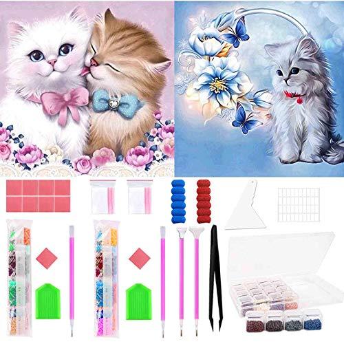 Juego de pintura de diamante 5D, juego completo – 2 diamantes contados para niños y adultos – pintura de diamantes de gatos para casa, pared y decoración de entrada, 30 cm x 40 cm