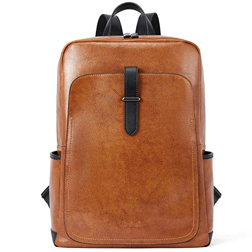 BOSTANTEN Women Leather Backpack Purse 14 inch Laptop Rucksack for School Work Large Capacity Casual Daypacks City Backpack Brown