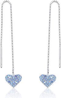 Heart Dangle Threader Earrings, 925 Sterling Silver Long Love Heart Dangle Drop Earrings Gift Jewelry to Women