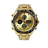 Reloj De Pulsera Hombre Deportivo Acero Inoxidable Multifuncional Impermeable Dual (Dorado)
