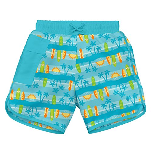 i play. by green sprouts baby-boys Trunks with Built-in Reusable Swim Diaper,Aqua Surfboard Sunset,18mo