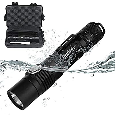 BORUIT Multi-functional IPX-8 Waterproof LED Handheld Flashlight,Super Bright Rechargeable Underwater Torch with Automobile Safety Hammer for Outdoor Camping, Hunting, Hiking, Fishing,3 Year Warranty