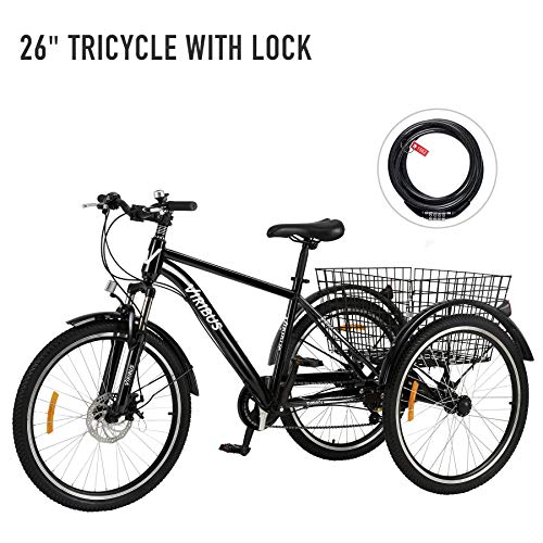 Viribus 7-Speed Adult Tricycle w Adjustable Handlebars and Seat Three-Wheel Mountain Bicycle for Men and Women Complete Beach Cruiser Trike with Basket Lights Bell for Adults (Black2, 26'/7-Speed)
