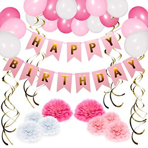 NextDeko Geburtstag Deko Rosa Weiß - Happy Birthday Girlande, Geperlte Ballons, Pompoms, Spiralen - Geburtstagsdeko Party Deko...