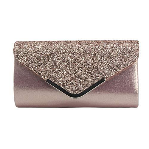 Clutch-Tasche für Damen, Pailletten, Clutch, Abendtasche, Kette, Geldbörse, Party, Abschlussball, Hochzeit, Umschlag, Handy, Handtasche, Mini, Pink