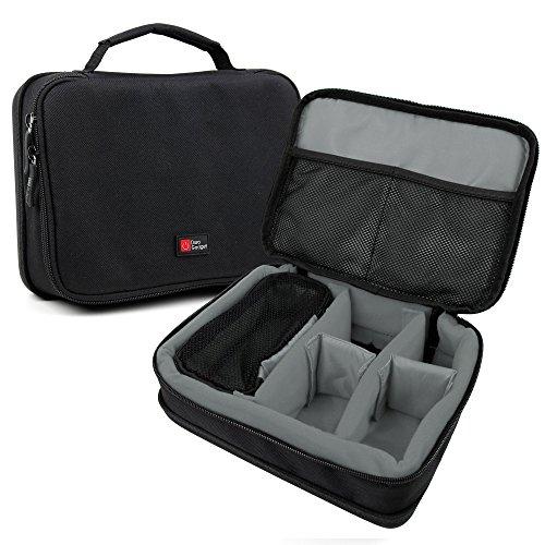 DURAGADGET Bolsa Acolchada Profesional Negra con Compartimentos e Interior en Gris para Cámara Besteker Digital | COMI Digital | Panasonic Lumix DMC-TZ81 | Vmotal GDC80X2