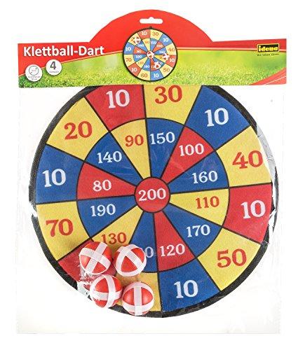Idena 40095 - Dartspiel mit Dartscheibe aus Stoff und 4 Klettbällen, Durchmesser ca. 35 cm, für drinnen und draußen