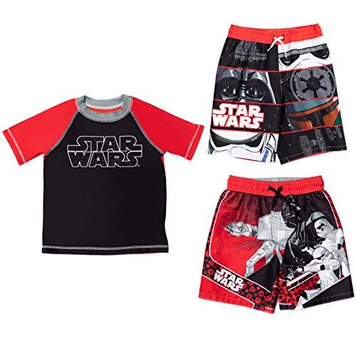 STAR WARS Darth Vader Little Boys Rash Guard Swim Trunks Set Black/Red 5-6