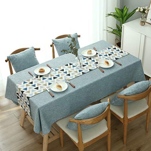 Nhomy, set di due tovaglie (1 tovaglia + 1 runner da tavola), tovaglia rettangolare in cotone e lino, per cucina e esterni, Blue, 130*180cm