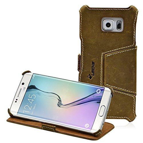 MANNA | Funda de Piel Genuina para Samsung Galaxy S6 EDGE | Función EasyStand | Cuero Nobuk | Color Marrón | LEICKE