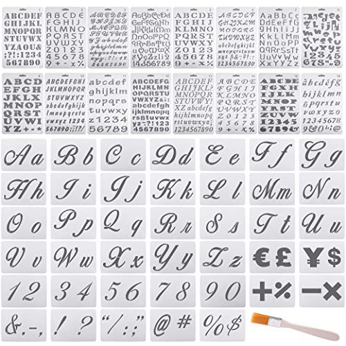 Jekkis 56 Pack Letter Stencils for Painting on Wood Alphabet Stencils with Numbers and Signs Reusable Plastic Small Stencils for Drawing Journal DIY Craft Project - 146 Designs