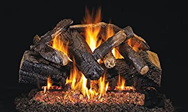 Real Fyre 24-inch Charred Majestic Oak Vented Gas Logs Bundled with G4 Burner Kit (Natural Gas)