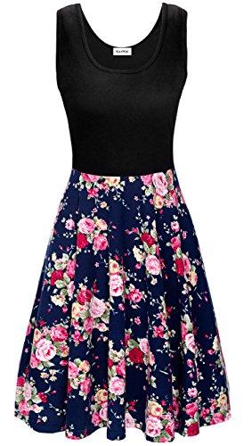 KorMei Damen Ärmelloses Beiläufiges Strandkleid Sommerkleid Tank Kleid Ausgestelltes Trägerkleid Blau Rose Blume S