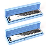 Foraineam 2 Pack 24 Holes Blue Color Tremolo Harmonica for Students and Children, Key of C, Beginners Recommended