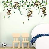 decalmile Monkey Climbing Tree Wall Decals Jungle Animals Wall Stickers Kids Room Baby Nursery Bedroom Wall Decor