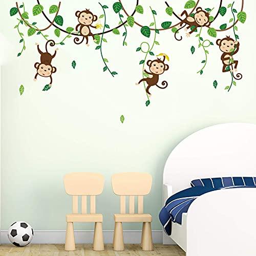 decalmile Pegatinas de Pared Mono Infantiles Vinilos Decorativos Animales de la Jungla Adhesivos Pared Habitacion Bebés Guardería Dormitorio