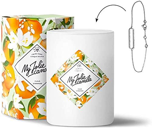 Vela perfumada de flor de naranjo con joya en el interior, pulsera de plata, 70 h de combusción, cera 100 % natural vegetal, 330 g