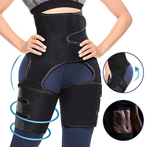 CAMTOA 3 in 1 Waist Thigh Trimmer and Butt Lifter, Waist Trainer Butt Lifting Thigh Trimmer for Women Weight Loss Hip Enhancer Shapewear Body Shaper Slimming Belt Workout (Black, X-Large(L-XL))