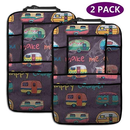Bolsa de almacenamiento del organizador del asiento trasero Funny You Make Me Happy Camper Motivational Quote with Retro Caravans Backseat Car Organizer Car Back Seat Protector Kick Mats for Kids Lar