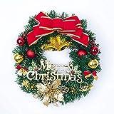 クリスマスリースクリスマスツリーラウンドリング手作りエレガントホリデーリースマルチカラー30 * 30Cm-50CmレッドBell31