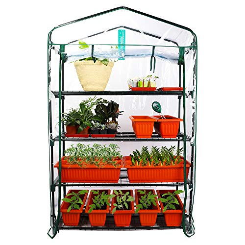Homes Garden Upgrade Wider 4 Tier Greenhouse 39 in. W x 19 in. D x 63 in. H Portable Indoor Outdoor Mini Greenhouse Clear PVC Cover Zipper Roll Up #G310A00