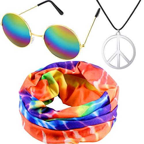 meekoo El Conjunto de Vestuario Hippie Incluye Diadema Hippie, Collar con el Signo de la Paz y Gafas Estilo Hippie para Las Fiestas temáticas de los años 60 o 70 (Color Set 1)