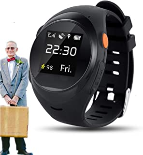 vmree Global WiFi Tracking System SOS GPS Seniors Anti-Fall Alarm Smart Watch (Black)