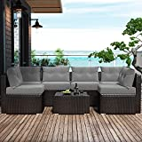 Amolife 7 Pieces Patio PE Rattan Sofa Chair Set Outdoor Sectional Furniture Brown Wicker Conversation Set with Grey Cushions Covers and Tea Table