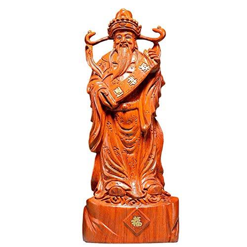 xiaokeai Obra de Arte Esculturas Estatuillas de Buda Feng Shui Decoración Dios DE LA Fortuna Estatua, Decoración para la Suerte y la Riqueza hogar u Oficina (Alto: 23.6 '' Caoba) Colección EST