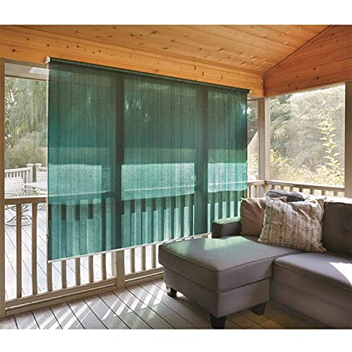 CASTLECREEK Woven Polyethylene Fabric Roll Up 6 x 4 Ft Sun Shade Window Blinds w/ Removable Hand Crank, For Porches, Patio, & RV, Hunter Green