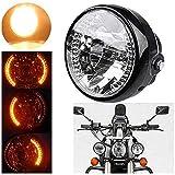 7' Motorcycle Headlight, Universal Motorcycle Motorbike Headlight Turn Signal Light Bulb with Bracket