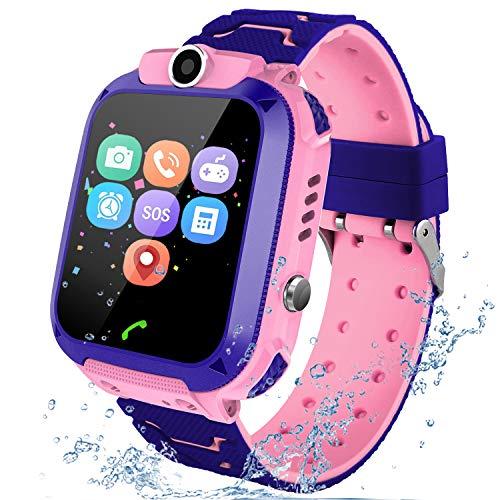 Reloj Inteligente para niños, LBS Rastreador Podómetro Impermeable cámara SOS Pantalla táctil HD Conversación Bidireccional Reloj Inteligente para niños, regalo para para Niños Niña 3-12 Años, Rose