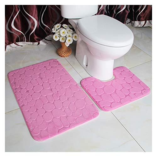 Juego de alfombras de baño de 2 piezas Establilla de alfombrilla de baño de 2 piezas Plusas suave de baño antideslizante alfombras en forma u contorneado alfombra de alfombra súper absorbente Accesori