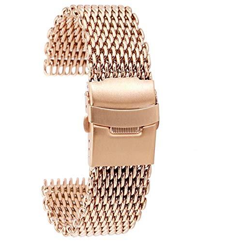 ZXF Correa Reloj, De Malla Correa de Acero Inoxidable 18/20/22 / 24mm Broche Plegable Correas de Reloj Oro Rosa/Azul Reloj Correa PulseraZXF (Color : Rose Gold, Size : 22mm)