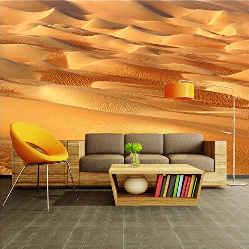 Dalxsh aangepaste foto behang 3D geel zand woestijn bank tv achtergrond muur decoraties woonkamer moderne muur 280 x 200 cm.