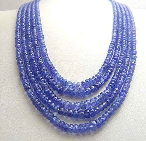 Jewel Beads Natural Beautiful jewellery TANZANITE Beads Luxe AAAA, 4x6 mm Periwinkle Blue faceted december brides bridal wedding 5 strand necklace 18 inches longCode:- JJBB-22317