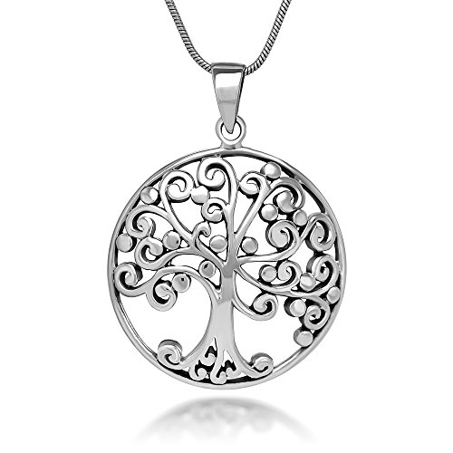 Sterling Silver 27 mm Open Filigree Ancient Tree of life Symbol Round Pendant Necklace 18''