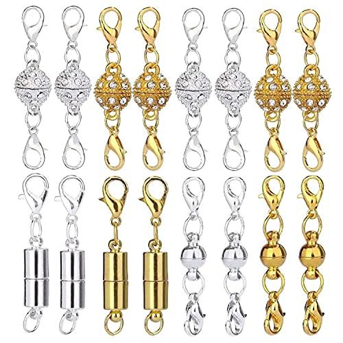 Cierres de Joyería Magnética, 16 Piezas Cilíndrico y Tono de Bola Broche de Langosta Magnético de Diamantes de Imitación para Bisutería Collar Pulsera