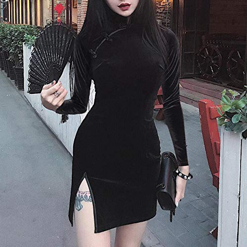 Vestido de Mujer Vestido de Mujer Oscuro Cheongsam Estilo Chino Mini Vestido Flaco Streetwear Ropa de Mujer Vintage Sexy