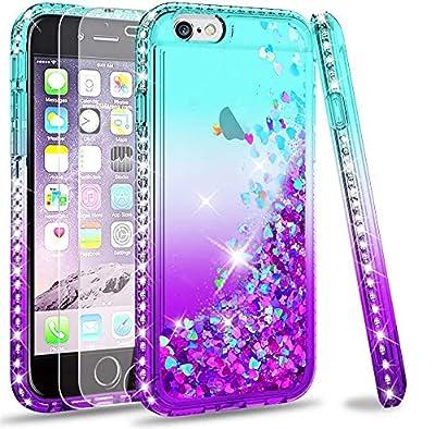 LeYi Funda iPhone 6 / 6S Silicona Purpurina Carcasa con [2-Unidades Cristal Vidrio Templado],Transparente Cristal Bumper Telefono Gel Fundas Case Cover para Movil iPhone 6 / 6S ZX Púrpura/Azul